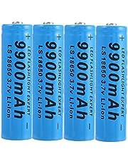 4 stuks 18650 oplaadbare lithium-ion batterijen, 18650 oplaadbare batterijen, 9900 mAh, 3,7 V, ICR, lithium-knoop-batterijen, oplaadbaar voor zaklamp.