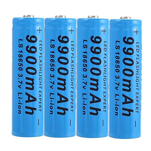 4PCS Batterie 18650 Batteries Rechargeables Lithium-ion Batteries, 18650 Piles Rechargeables 9900mah 3.7v ICR Lithium Batteries Bouton Top Piles Batteries Rechargeable pour Lampe de Poche Lampe