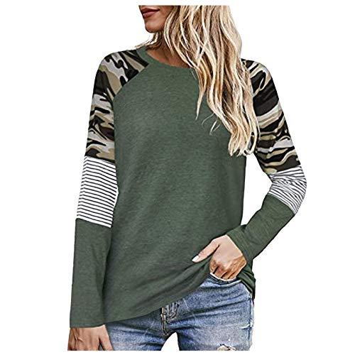 Long Sleeve T-Shirt Women Stitching Leopard Print O-Neck Sweatshirt Novelty Print Pullover Tunic Casual Loose Ladies Tops Comfort Pocket Blouses Undershirt Green