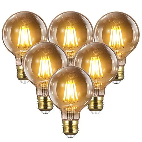 Lampadina Edison Vintage E27 LED - YUNLIGHTS 6PCS 8W (equivalente lampada a filamento 80W) 1000LM/2700K per bar ecc., Lampadina dimmerabile G80 Edison Vintage | Lampadina decorativa retrò bianco caldo