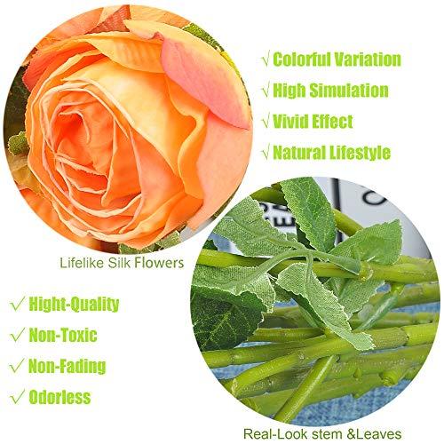 cn-Knight Dried Flower Artificial Rose 6pcs 24 Inch Long Stem Silk Rose with 5 Flowers for Wedding DIY Bridal Bouquet Home Decor Centerpiece Arrangement(Orange) Silk Flower Arrangements