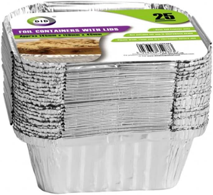 Contenedores de papel de aluminio con tapas, ideal para hornear, asar, cocinar, bandejas para llevar – Paquete de 25 – 145 mm x 120 mm x 45 mm