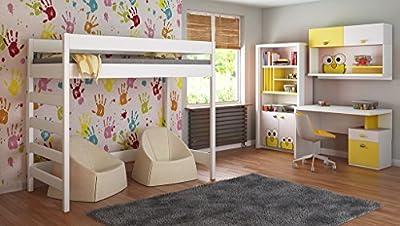 Camas altas para niños Niños Juniors 140x70, 160x80, 180x80, 180x90, 200x90 No hay colchón incluido y la escalera está en el lado (borde corto)
