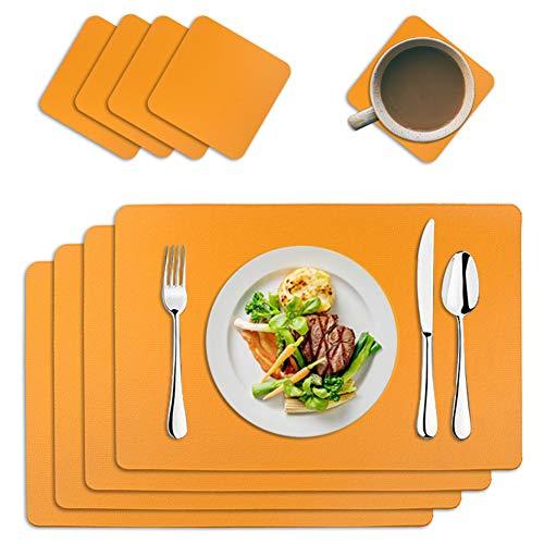 MAOOY - Set di 4 tovagliette in ecopelle PU, lavabili, con 4 sottobicchieri quadrati, 45 x 30 cm, per cucina, famiglia, arancione