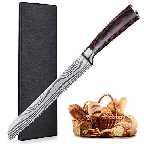 UniqueFire Couteau à Pain丨couteau Japonais 8', Lame Dentelée Pain en Acier Inoxydable en Teneur de Haut Carbone,...
