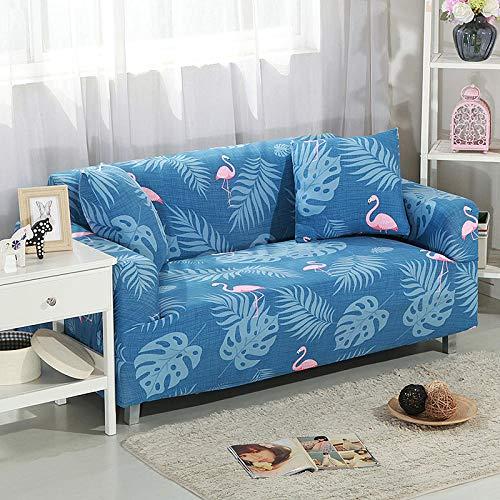 Funda Elástica para Sofá Cubierta del sofá Funda de sofá Funda elástica Protectora para sofá Material de poliéster pájaro Rosa en Maderas Azules Viene con 3 Fundas de Almohada
