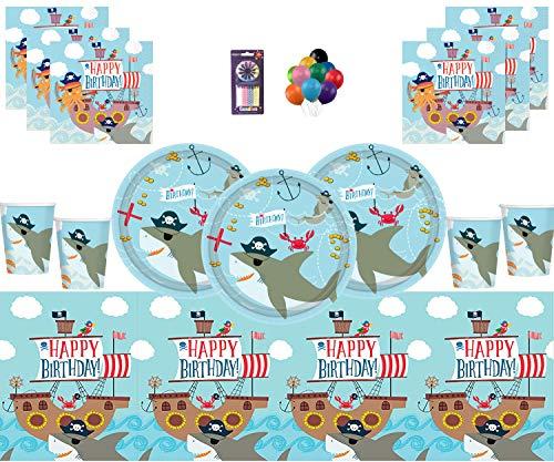 Decoración náutica de la Fiesta de cumpleaños de Ahoy Suministros de cumpleaños Platos Vasos Servilletas Plástico Globos Gratis Velas para 16 Personas