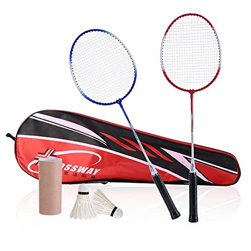QQWA 1 Set professionelles Badminton-Set, 2 Schläger, 2 Federbälle und Tragetasche, für drinnen und draußen, Freizeitspiel, Sportzubehör
