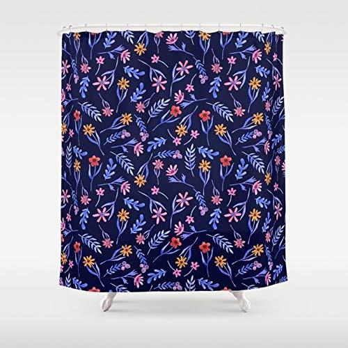 Zachrtroo Dark Blue Duschvorhang Floral Duschvorhang Mädchen Badezimmer Dekor Blau Navy Duschvorhang Frauen Cute Duschvorhänge Dark Blue Bath
