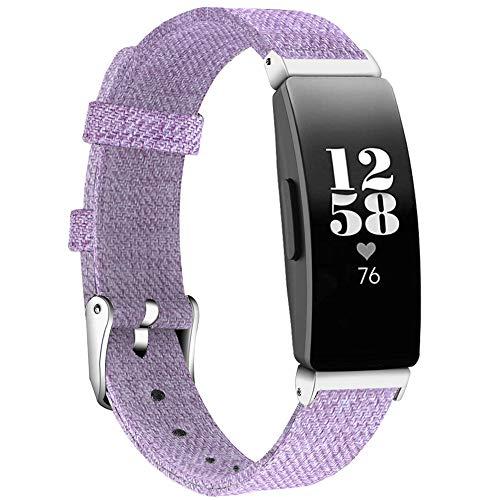 KIMILAR Bracelet Compatible avec Fitbit Inspire/Inspire HR Bracelet en Tissu, Nylon Tissé Bande de Remplacement Wristband avec Boucle Carrée pour Inspire & Inspire HR Fitness Tracker (S, Violet Clair)