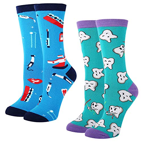 Women's Novelty Crazy Dental Funny Happy Teeth Tool Crew Socks, Dental Gift