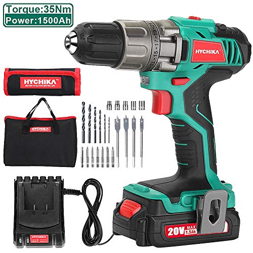 Cordless Drill Driver 20V Max HYCHIKA Power Drill Set 310 Inlb Torque with 1500mAh LiIon Battery 1H Fast Charging 211 Clutch 2 Variable Speed amp Builtin LED for Drilling Wood Metal and Plastic