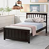 Twin Bed Frame Wood Slats Platform Twin Size Bed Frame with Headboard, No Box Spring Required Single Platform Bed Frame for Kids Espresso