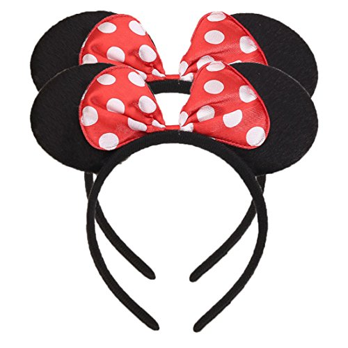 NiuZaiz Set of 2 Mouse Ears Headband for Parties and Trips (Red)