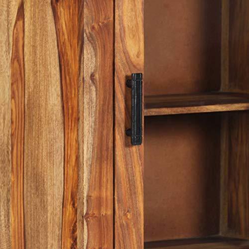vidaXL Sheesham-Holz Massiv Highboard mit 4 Fachböden 1 Glastür Vitrine Standvitrine Hochschrank Standschrank Anrichte Kommode Schrank 50x30x110cm Palisander