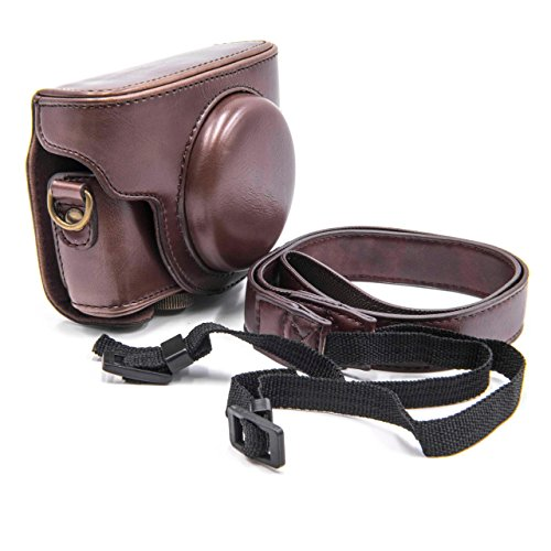 vhbw Polyurethan Foto-Tasche Kaffee für Kamera Sony Cybershot DSC-RX100 M4, DSC-RX100 V, DSC-RX100M, DSC-RX100M5, DSC-RX100 Mark 5, DSC-RX100M5A