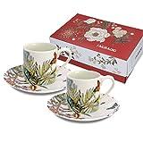 CARMANI - Set di 2 tazzine da caffè con piattino decorato con fiori e farfalle, 90 ml...
