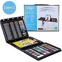 Pedy 208 pcs Kit de Pinturas para Niños - Incluye Ceras Pinturas al Agua Pasteles al óleo Rotuladores Borrador Lápices de Agua Lápices de Colores Bloc de bocetos