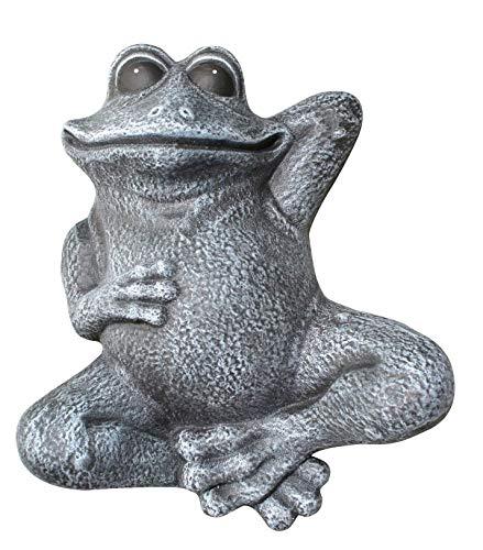 Tiefes Kunsthandwerk Steinfigur Frosch liegend - Schiefergrau, Garten, Deko, Stein, Figur, Frostsicher