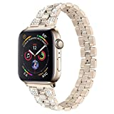Hi-Yoohere Elegent Fashion Bands Compatible with Apple Watach 38mm 40mm Chic Shiny Diamond Rhinestone Stainless Steel Metal Wristband Strap for Girls Men Women iWatch SE & Series 6/5/4/3/2/1 (Gold)