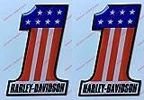Stemma logo decal HARLEY DAVIDSON, Number One, U.S.A., coppia adesivi resinati, effetto 3D. Per SERBATOIO o CASCO