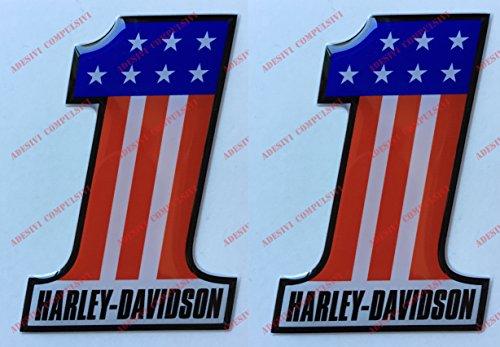 Escudo Logo Decal, Number One, U.S.A., par pegatinas resinati, efecto 3d. Para depósito o casco
