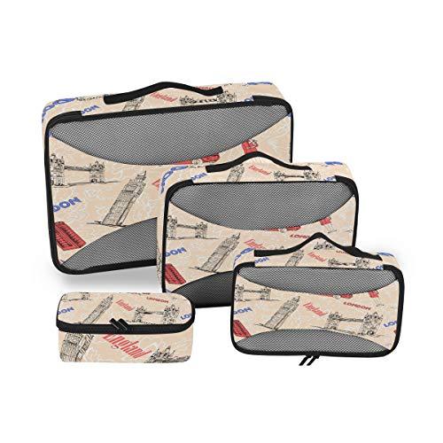QMIN - Juego de 4 Cubos de Embalaje de Viaje con diseño de la Bandera de Inglaterra y Londres, Bolsa organizadora de Equipaje de Malla, Bolsa de Almacenamiento para Maletas de Viaje
