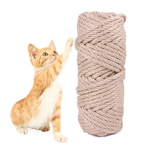 6mm Natürliches Sisalseil, Katzenkratzbaum Seil zum Reparieren Ersetzen von Katzenkratzbäumen, Katzenkratzbändern, DIY Kratzer, Gartenbündelung, DIY Basteldekoration für den Haushalt (50mx6mm)