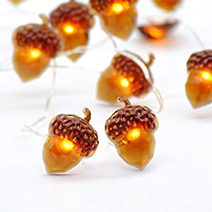 10 ft sliver plated copper wire and 40 LED bulbs, the acorn icon size is 5/8 x 7/8 inch. For indoor/covered outdoor use, easily set or wrap, safe and never go hot (silver plated copper wire, longer life, meets IP64 requirement). WARNING: DO NOT soak ...