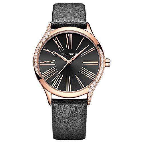 Orologio da donna di moda in pelle nera con cassa in oro rosa di lusso con design in pietra zircone e movimento al quarzo giapponese MF025904 nero