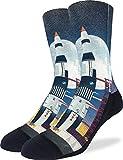 Good Luck Sock Men's Saturn V Rocket Launch Socks - Black, Adult Shoe Size...