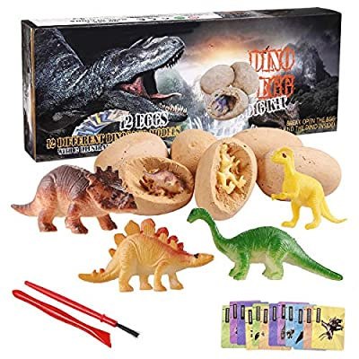 KODATEK Dinosaur Toys, Dino Egg Dig Kit Kids Gifts - Break Open 12 Unique Dinosaur Eggs and Discover 12 Cute Dinosaurs - Easter Archaeology Science STEM Explore Toys Explore Gifts for Boys Girls Toys