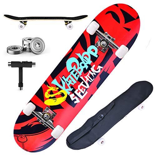 DnKelar Skateboard 79x20cm Tabla de Madera para Principiantes con rodamientos de Bolas...