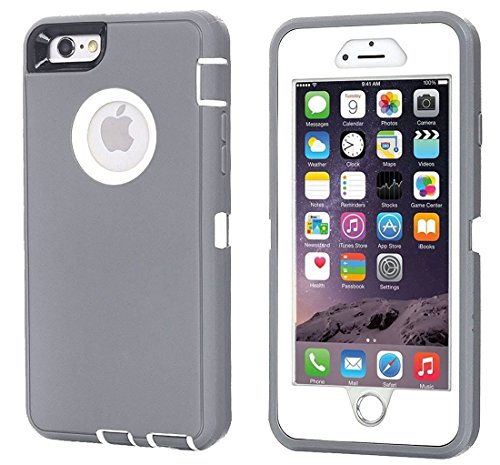 Annymall Case Compatible for iPhone 8 & iPhone 7, Heavy Duty [with Kickstand] [Built-in Screen Protector] Tough 4 in1 Rugged Shorkproof Cover for Apple iPhone 7 / iPhone 8 (Grey)