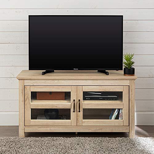 "WE Furniture 44"" Wood TV Media Stand Storage Console - White Oak"