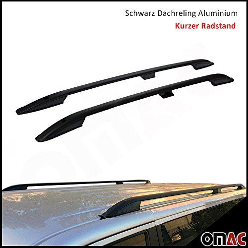 OMAC Aluminium Schwarz Dachreling Dachgepäckträger für Vivaro 2014-2020 Kurzer Radstand Relingträger Gepäckträger Fahrzeugspezifisch