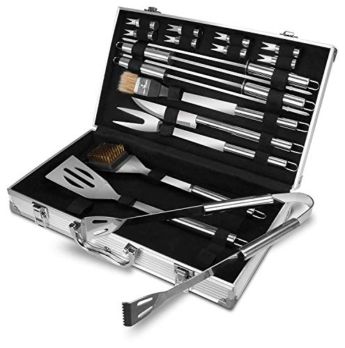Great Features Of DSA Trade Shop BBQ Tools Barbecue Grill Tool Set Kit 18Pcs Stainless Steel with Al...