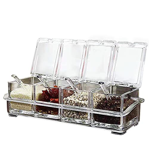 Wenxu 4 cajas de condimentos transparentes con cucharas, ideal para guardar especias, hierbas y condimentos, recipientes transparentes para sal, azúcar, pimienta y otras especias