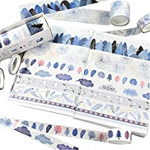 GRT 8 Rolls Washi Masking Tape Set,Colorful of Life Masking Tape,8 Different Designs About Blue Cloud Theme,5mm 15mm 30mm Wide,Great Creative washi Tape,for Planner Bullet Journals DIY Scrapbook Arts