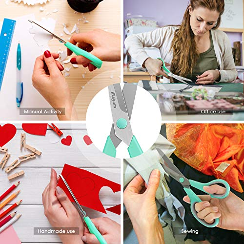 "iBayam Scissors, 8"" Multipurpose Scissors Bulk 3-Pack, Ultra Sharp Blade Shears, Comfort-Grip Handles, Sturdy Sharp Scissors for Office Home School Sewing Fabric Craft Supplies, Right/Left Handed"