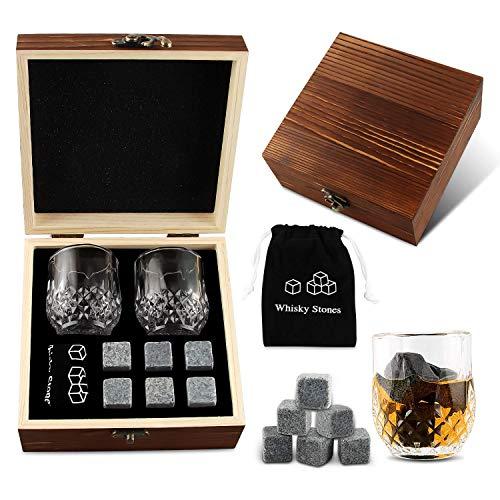 Cubetti da Whisky, 6 Pezzi Whisky Stones, Pietre di Granito Whisky, Pietre Refrigeranti Riutilizzabili, Set Regalo in Legno Cubetti di Ghiaccio in Pietra Ollare Naturale, 2 Bicchieri da Whisky