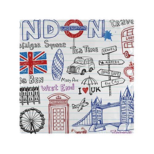 Serviettes en Tissu imprimé pour Les dîners en Famille Restaurant Mariages fêtes banquets Art Doodles Londres coloré Ville 1 pièce Linge de Table