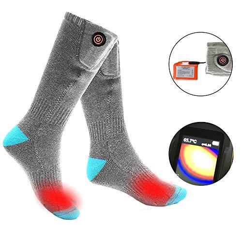 Langyinh Verwarmde sokken, elektrische thermische sokken, voetwarmer, 3 verwarmingen, geschikt voor winter skiën, jacht, wandelen, rijden, uniseks