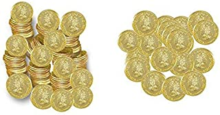Plastic Gold Coins Play Money – 144 Pack- Fake Money- Party Favors- Play Kreative