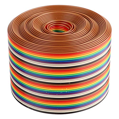 Flachbandkabel, 40P Rainbow Flat Ribbon Kabel, 1,27 mm bunte Abstand Pitch Kabel Drahtbreite 5,08 cm Flachband IDC Draht Kabel(5m)