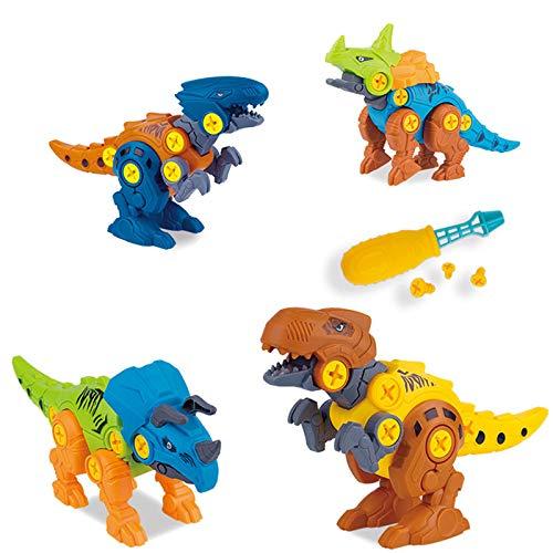Simpbuy 4 Piezas Niños Ensamblados DinosaurToys, con Destornilladores DIY Juego De Bloques De Construcción De Ingeniería Kit De Juego, 3 4 5 6 7 Años De Edad Niños Niñas Regalo