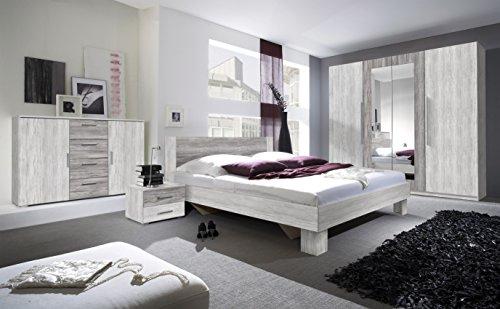 Schlafzimmer-Set VERA Schwebetürenschrank Kommode Nachttisch Bett (Bett 160 x 200 cm, arktis kiefer...