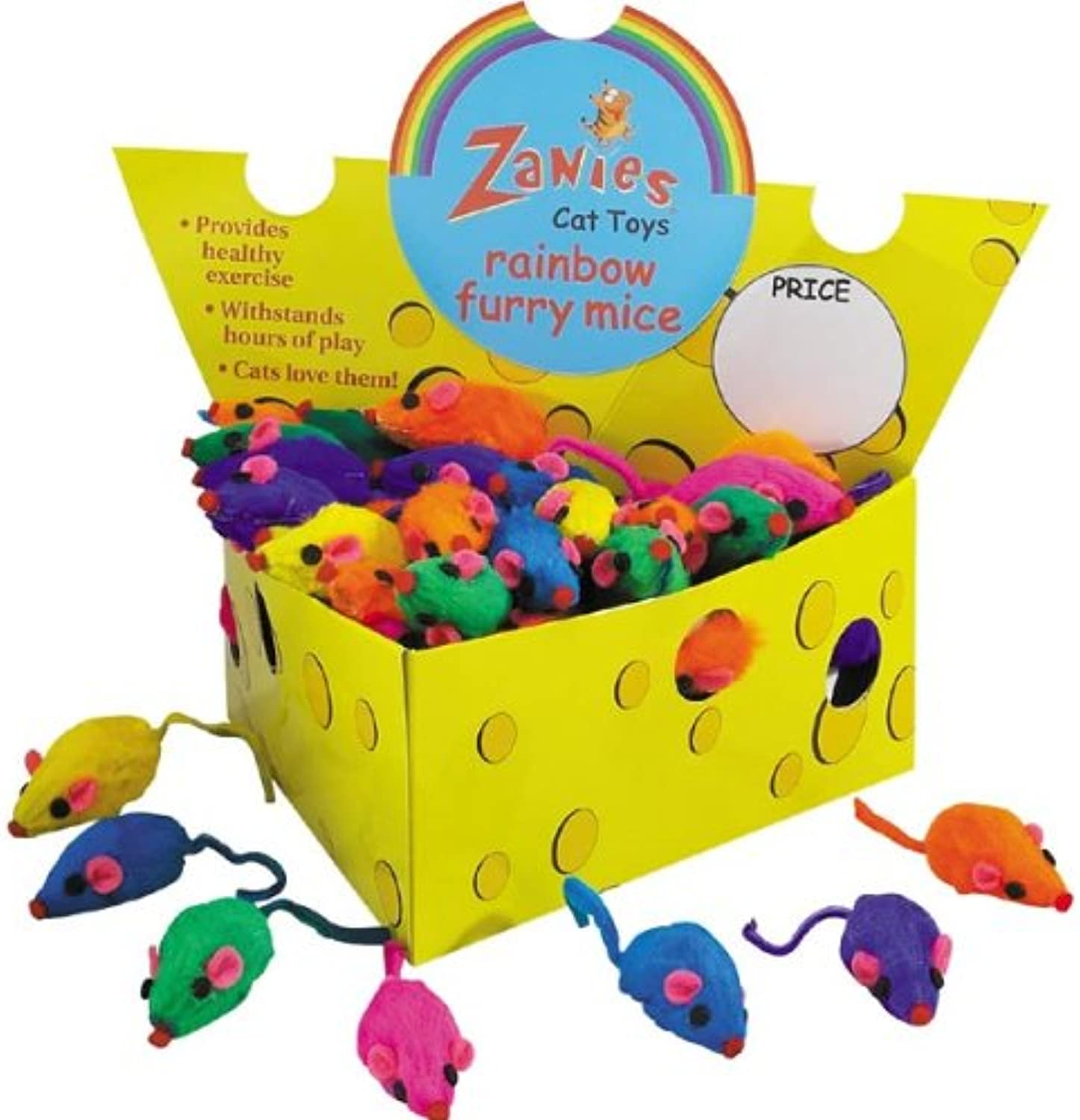 Box of 60 Zanies Real Fur Rattling Rainbow Mice in Cheese Box
