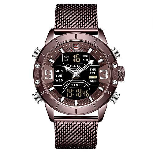 Relógio digital masculino à prova d'água NAVIFORCE, relógio de pulso de quartzo militar de aço inoxidável, 9153-CECE