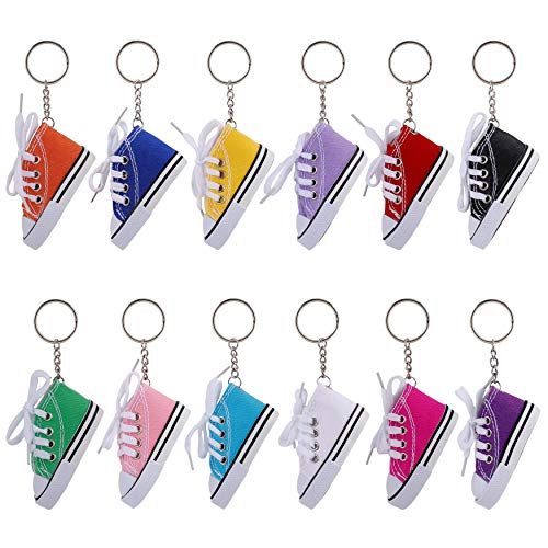 Schlüsselanhänger Mini Segeltuch Sneaker Schuh Schlüsselring Schlüssel Anhänger Geburtstagsfeier Souvenir Geschenk für Freund Und Familie 12 Stück
